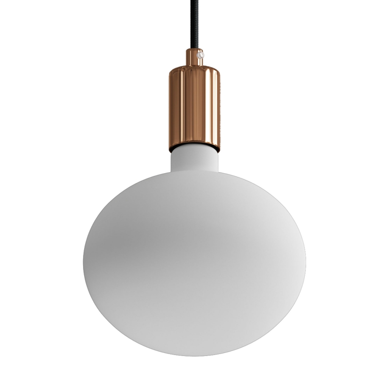 Pendant lamp with textile cable and contrasting metal details
