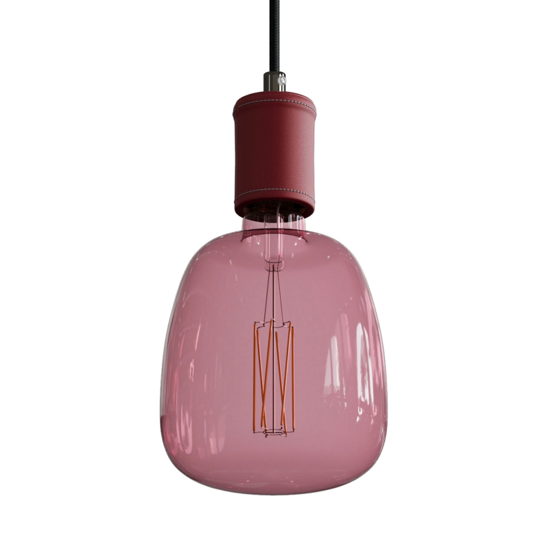 Pendant lamp with textile cable and leather details