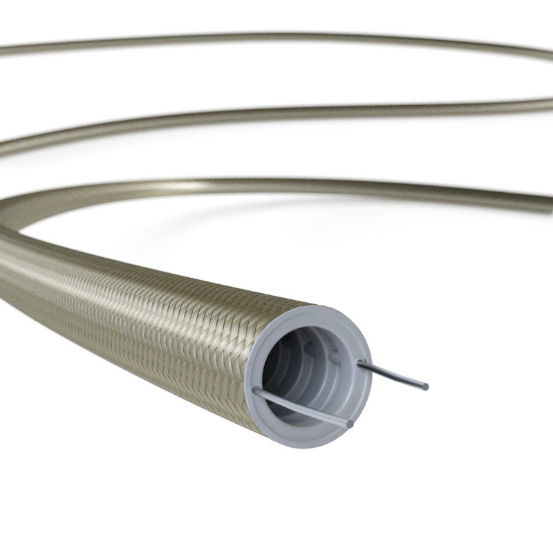Creative-Tube flexible conduit, Rayon solid color Cipria RM27 fabric covering, diameter 20 mm
