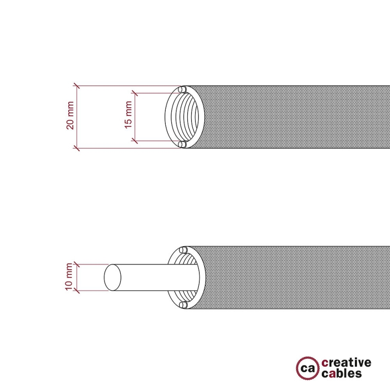 Creative-Tube flexible conduit, Rayon 3D effect fabric Star RT41 covering, diameter 20 mm