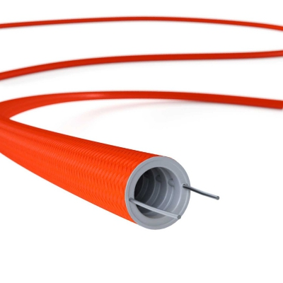 Creative-Tube flexible conduit, Solid Color Fluo Orange RF15 fabric covering, diameter 20 mm