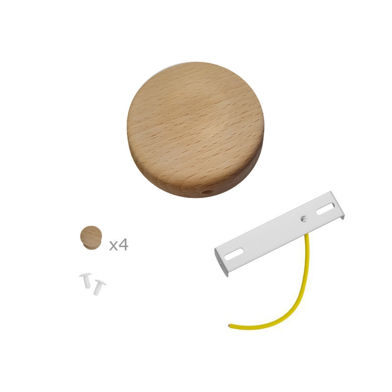 Mini cylindrical wooden 4-side- hole canopy kit (junction box)