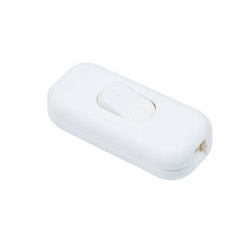 White Double Pole in-line On/Off Switch