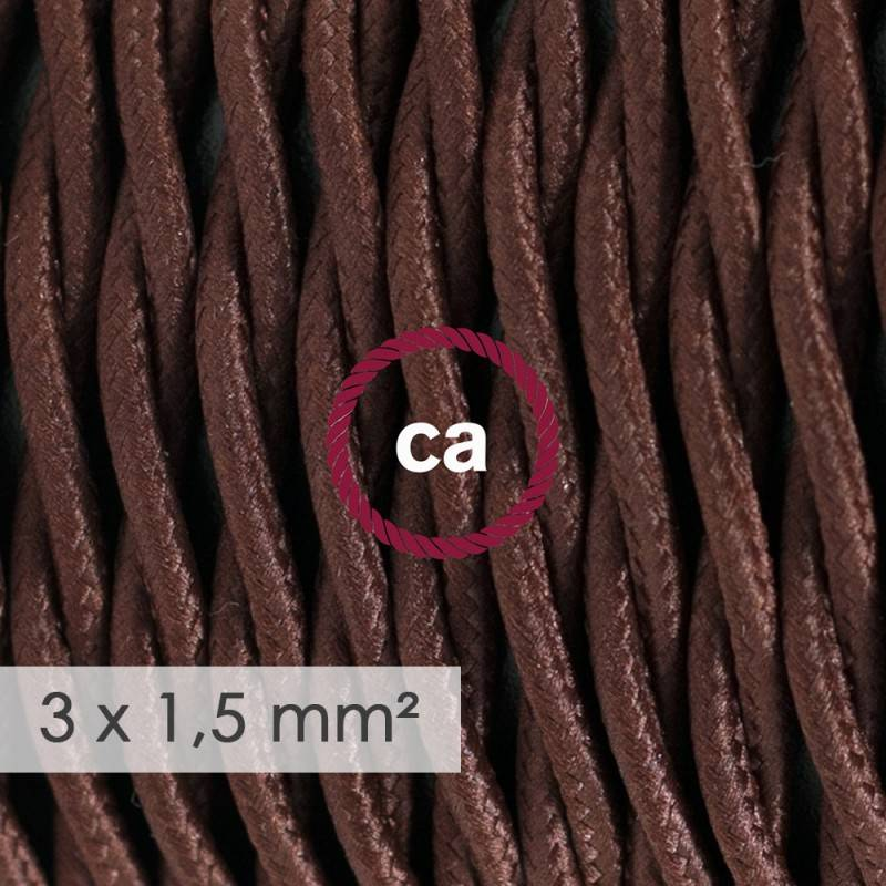 Extension Cord - Twisted Brown Rayon TM13 - 15/3 AWG