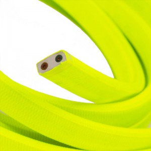 Electric Cable Color Cord for Custom String Lights, covered by Rayon fabric Yellow Fluo (CF10)