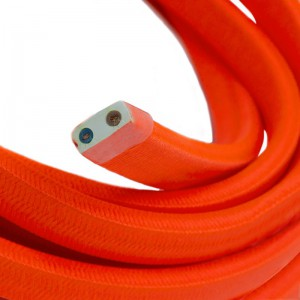 Electric Cable Color Cord for Custom String Lights, covered by Rayon fabric Orange Fluo (CF15)