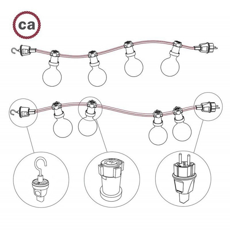 Electric Cable Color Cord for Custom String Lights, covered by Rayon fabric Grey (CM03)