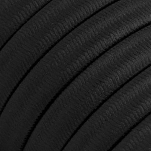 Electric Cable Color Cord for Custom String Lights, covered by Rayon fabric Black (CM04)