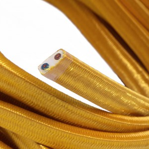 Electric Cable Color Cord for Custom String Lights, covered by Rayon fabric Gold (CM05)