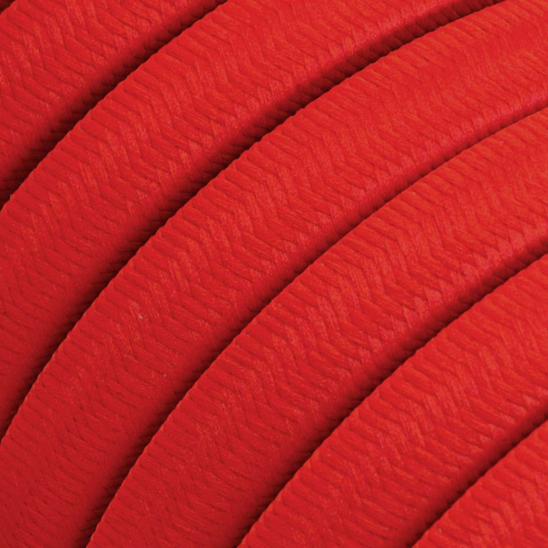 Electric Cable Color Cord for Custom String Lights, covered by Rayon fabric Red (CM09)