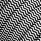 Electric Cable Color Cord for Custom String Lights, covered by Rayon fabric ZigZag Black & White (CZ04)