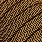 Electric Cable Color Cord for Custom String Lights, covered by Rayon fabric ZigZag Black-Whiskey (CZ22)