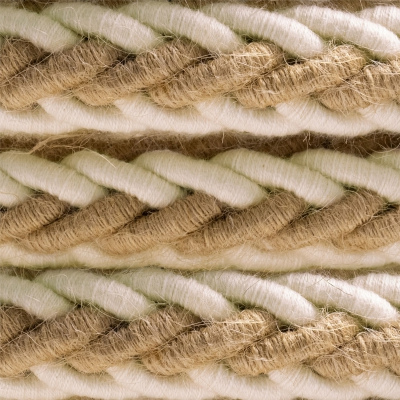 2XL jute and raw cotton twisted rope cable, 2x0.75 elettric cable. 24mm diameter