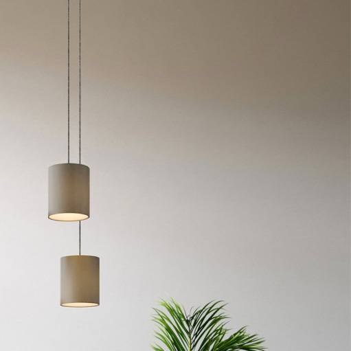 Double pendant light with lampshade