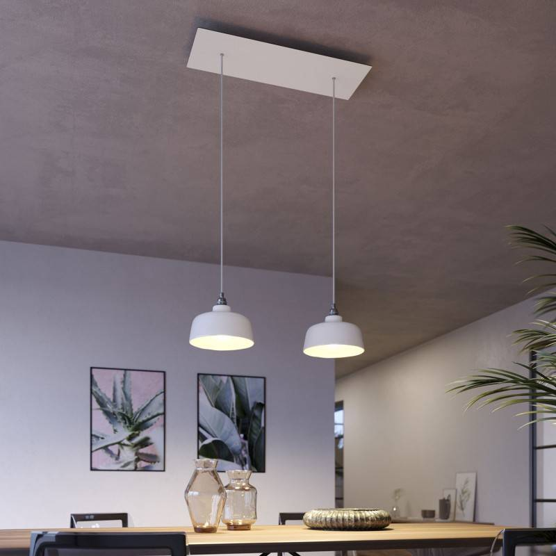 Double pendant light with Rose-One with lampshade