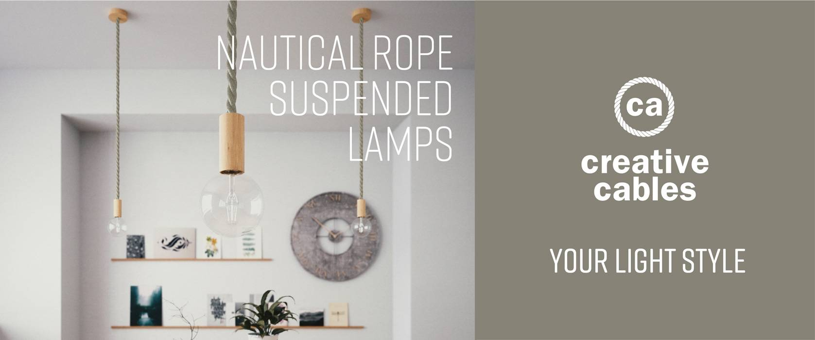Nautical rope suspended lamp