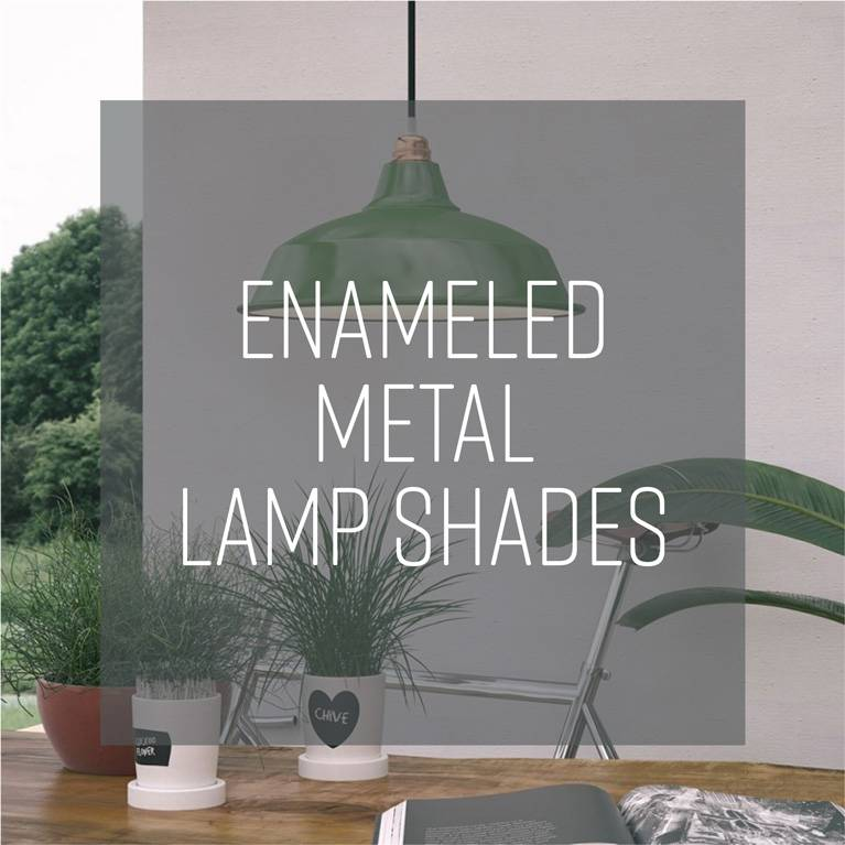 Enameled metal lamp shades